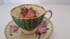 EB FOLEY BONE CHINA 1850 ENGLAND FLORAL GREEN & IVORY TEA CUP AND SAUCER SET #Foley