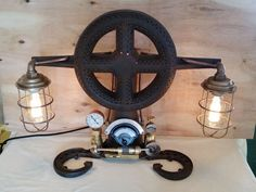Steampunk Inspired LAMP Metal Sculpture Antique Industrial Machine Age Art Light