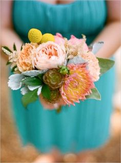 peach peony rustic wedding bouquet with billy balls and dusty miller via The Wedding Chicks