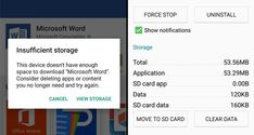 An Android smartphone Insufficient Storage Available warning