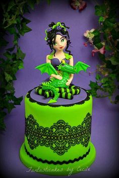 Beautiful bright dragon & fairy cake by Cecile of Fantastic Cakes by Cecile!