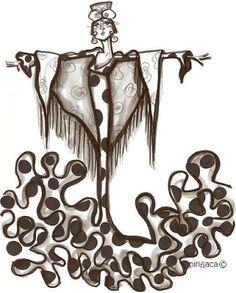 Carmen Encinas. Pintora sevillana. Piriñaca- flamencas Drawing Sketches, Art Drawings, Dance Poses, Arte Pop, Mexican Art, Gravure, Copic, Caricature, Zentangle