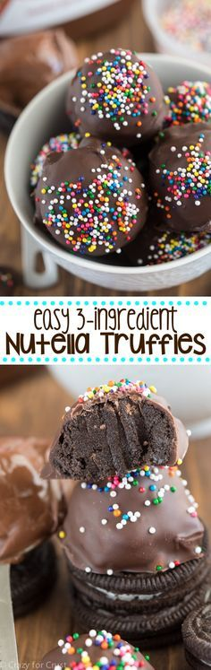 EASY 3-ingredient Nutella Truffles made with Oreos! We could not stop eating these truffles - such an easy recipe and full of chocolate!