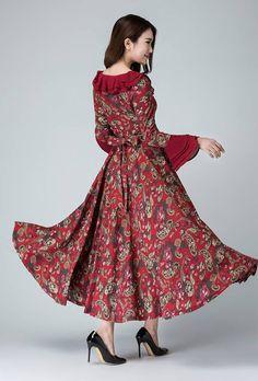 garden party dress Linen dress flower prom dress women by xiaolizi