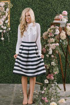 Aimee Black and White Striped Midi Skirt