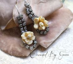 Cottage Rosevintage assemblage earrings rose by crownedbygrace
