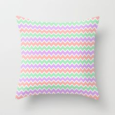 Coral Peach Pink and Purple Lavender and Mint Green Chevron Throw Pillow for girls bedroom bedding decor #decampstudios