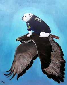 "English Bulldog Art Print - Seahawk - ""Superbowl Bound"" - Seattle Seahawks -by Original Mike Holzer-11x14"