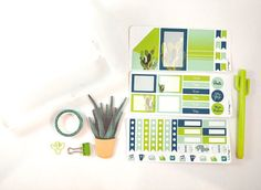 All stickers are designed and made by me with lots of planner love! Use these stickers for planning, journaling and scrapbooking!  Stationery Kit Includes: 1 Washi Tape 1 Cactus Paper Clip 1 Paper Clip 1 Random Cactus Plant Sticky Note Pad 1 Three Level Case 1 Cactus Pen 3 Sheet Sticker Set  3 x 6.75 sheet size  MAMBI Happy Planner is used for sticker size reference  Matte, non-removeable stickers  *Please be aware that sticker colours may be slightly different than viewed on your screen.