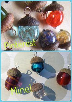 Beaded acorn pendants