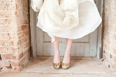 Gold glitter peep toe wedding shoes