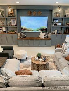 Living Room Built Ins, Basement Living Rooms, Basement House, Home Living Room, Living Room Decor, Living Spaces, Basement Built Ins, Basement Apartment, Bookcase Wall