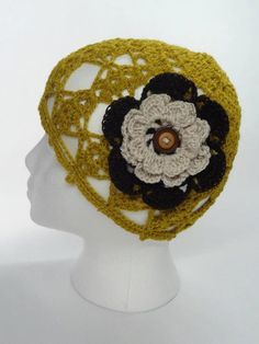 Lacy Crochet Hat in Nugget Gold with crochet flower  by toppytoppy, $22.00