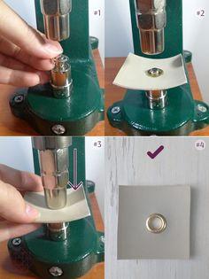 Tipos de herrajes. Aplicación de herrajes. Como usar un troquel. Características de herrajes. Leather Diy Crafts, Leather Craft Tools, Leather Wallet Pattern, Sewing Leather, Sewing Accessories, Leather Accessories, Sewing Tools, Sewing Tutorials, Sewing Equipment