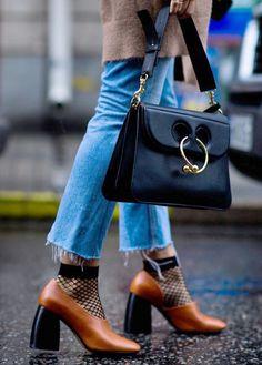 J.W. Andserson bag + fishnet socks + block heels