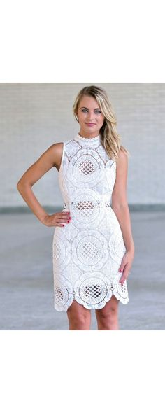 Lily Boutique Medallion Lace Doily High Neck Sheath Dress in White, $40 White Lace High Neck Sheath Dress, White Lace Rehearsal Dinner Dress, Cute Bridal Shower Dress www.lilyboutique.com