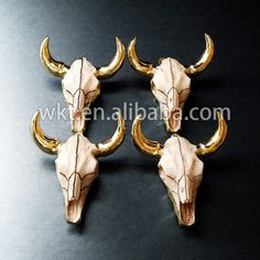 WT-P250 Longhorn Cattle Resin Bull Cattle Horn pendants, Amazing exclusive gold cattle horn by WKTjewelry on Etsy