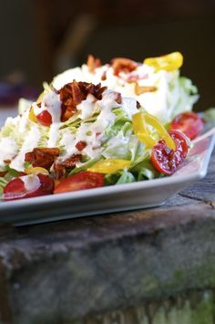 Pretty Wedge Salad on a big rustic board. Dairy-free with Apple bits instead of bacon bits. Mmmm. From Namely Marly