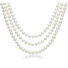 Brilliant Bijou 14k Yellow Gold Gold 9-10mm White Near Round FW Cultured Pearl Necklace 20 inches