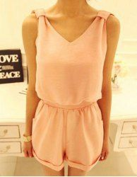 Sexy V-Neck Solid Color Open Back Sleeveless Romper For Women
