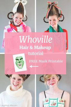 "Get your ""How the Grinch Stole Christmas"" Whoville costume perfect with this simple and quick Whoville hair and makeup tutorial!"