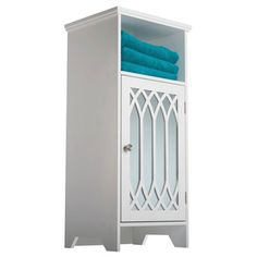 Kathy White 1-door Mirror Floor Cabinet with Open Shelf by Elegant Home Fashions