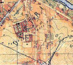 Ubicación del Cementerio del Sur en un plano de la época