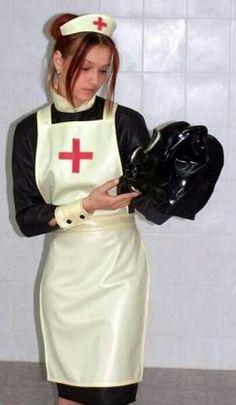 Welcome to the Doctor's office, a place where female doctors and nurses abuse their patients. Nursing Clothes, Nursing Dress, Latex Uniform, Operating Room Nurse, Plastic Aprons, Pvc Apron, Latex Costumes, Latex Wear, White Apron