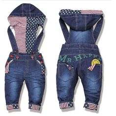 Free Shipping! 2014 top quality baby jeans fashion girl/boy denim overalls infant trousers kids hooded braces jeans Retail US $21.49