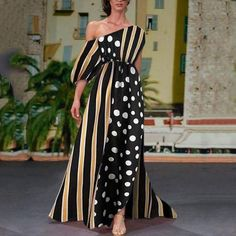 Sexy Fashion One Shoulder Floral Print Maxi Dress Long Sleeve Evening Dresses, Formal Evening Dresses, Summer Dresses, Polka Dot Maxi Dresses, Floral Print Maxi Dress, Long Cocktail Dress, Cosplay Dress, Maxi Dress With Sleeves, Types Of Fashion Styles