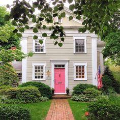 Pink door, tan house, white trim. Pink could also be smoky turquoise, lavender, violet, royal/cobalt blue, kelly green, primrose, burnt umber