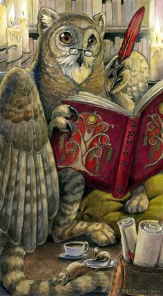 Scribe Fantasy Owl Gryphon Librarian Print by windfalcon on Etsy Wise Owl, Owl Art, I Love Books, Mythical Creatures, Fantasy Art, Fairy Tales, Illustration Art, Book Illustrations, Lion Sculpture
