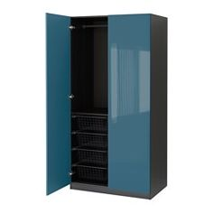 PAX, Wardrobe, black-brown, Fardal high-gloss/turquoise