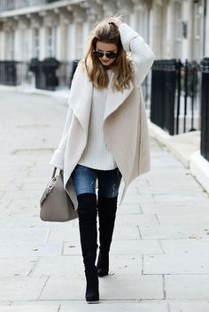 fall / winter - street style - street chic style - casual outfits - fall outfits - winter outfits - white shearling vest + white oversized sweater + black over the knee boots + skinny jeans + grey handbag + aviator sunglasses