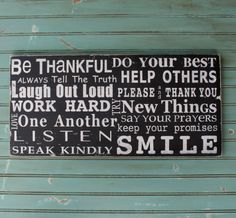 NEW Family Rules Sign  Be Thankful  by barnowlprimitives on Etsy, $95.00