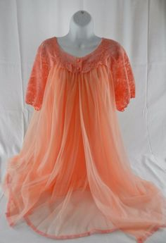 Vintage Baby Doll Peignoir Set Night Gown Robe Sears Red Label Small 32 34  Lace #SearsRedLabel