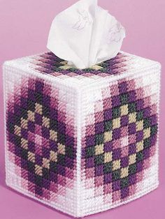 Around the World Plastic Canvas Pattern - Plastic Canvas Tissue Box Cover Pattern