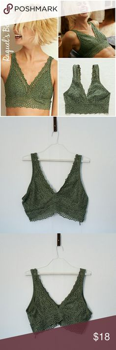 Aerie Olive Lace Bralette Details: Olive green lace/crochet low cut bralette  Brand: Aerie  Size: X-Large, 38 C  Condition: NWT aerie Intimates & Sleepwear Bras