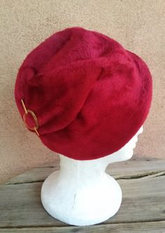 1c6430d2067 Vintage 1950s Hat Wool Calot Ruby Red Cloche 50s Fashion 1950s Fashion