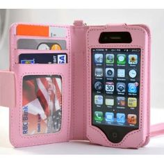 New Navor iPhone Life Protective Deluxe Book Style Folio Wallet Leather Case with Removable Strap for iPhone 4 4S Multifunctional - Pockets to Keep Bank Cards Driving License Bills & Belongings Safe - Pink - Fit for Verizon, AT, Sprint, Rogers, Fido etc
