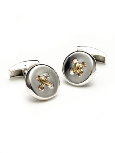 even though I hate cuff links these are cool. Silver Button Cufflinks