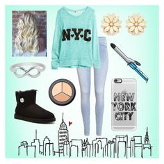 """""""NYC Forever"""" by savannahs977 ❤ liked on Polyvore featuring H&M, Conair, Forever 21, Casetify, Jewel Exclusive and UGG Australia"""