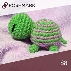 Lime green & purple striped turtle Handmade, made to order, so may take 2-7 days to ship Other