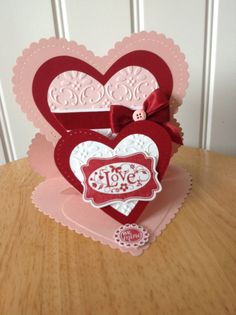 Stampin Up handmade valentine day card - Double Heart Easel on Etsy, $6.00