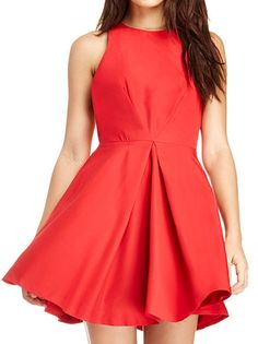 Short-Length Ruching Sleeveless O-Neck Crossed Knotted Ribbons Back Red Party Dress on buytrends.com