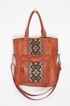 Ecote Pattern-Block Tote Bag - Light Brown - One Size