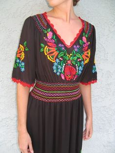 STUNNING SENORITA - VINTAGE 70s/80s RAINBOW EMBROIDERED black MEXICAN HIPPIE DRESS - ULTRA BOHO, SEMI-SHEER, and TOTALLY GORGEOUS
