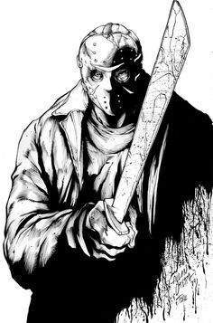 Jason Vorhees by Allan Otero, Inks by Inker-guy Scary Movies, Old Movies, Horror Movies, Horror Film, Michael Myers, Jason Voorhees Drawing, Jason Viernes 13, Transformers, Horror Movie Tattoos
