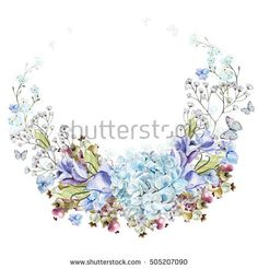 Beautiful watercolor wreath with eucalyptus branches and hydrangea flowers, eustomiya, wildflowers, saskatoon berries.  Illustrations.