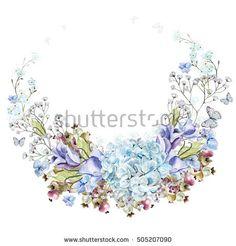 Beautiful watercolor wreath with eucalyptus branches and hydrangea flowers, eustomiya, wildflowers, saskatoon berries.  Illustrations.